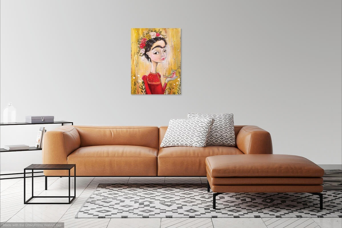 Frida Kahlo artwork in living room