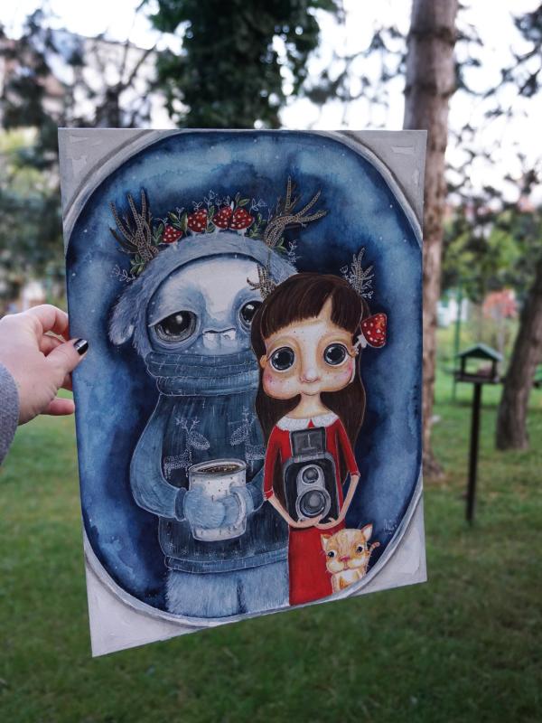 Zimní – Akvarel a pastelky na papíru – ORIGINÁL JE VOLNÝ