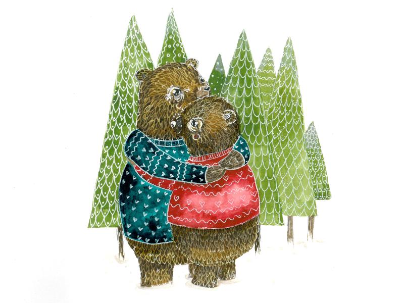 Medvědi – Akvarel a brush markery na papíru