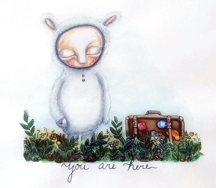You are here – Akvarel a pastelky na papíru – PRODÁNO