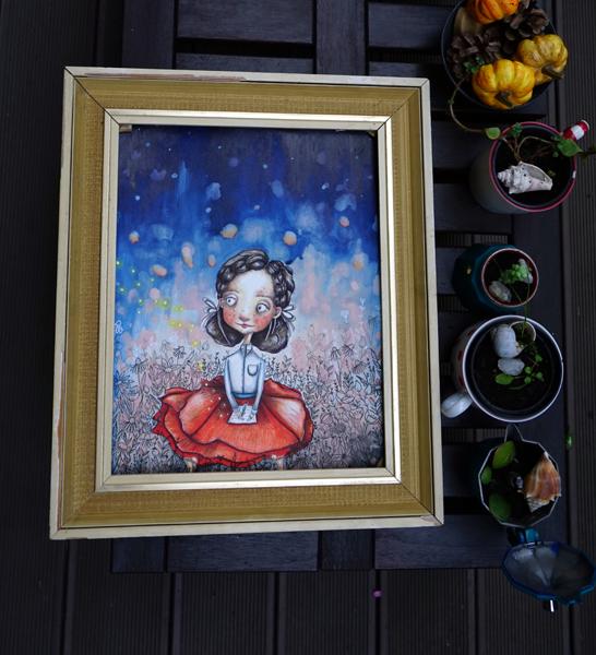 Růženka - mixed media (30 x 40 cm) - PRODÁNO